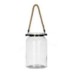 Glass with Black Metal Michelle Lantern