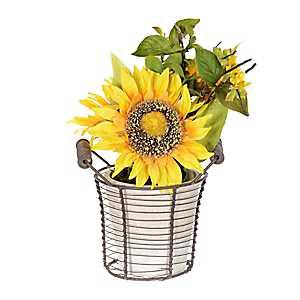 Yellow Sunflower Wire Basket Arrangement