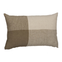 Olive Color Block Linen Accent Pillow
