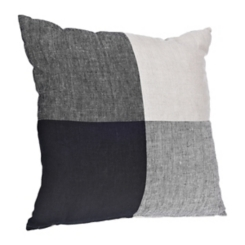 Black Color Block Linen Pillow