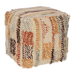 Multi-Color Wool Pouf
