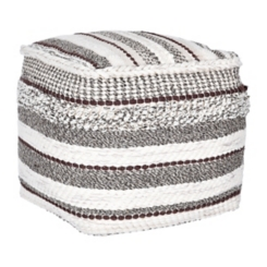 Brown Textured Stripe Pouf