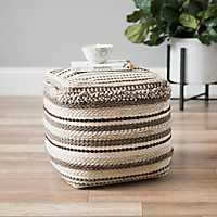 Brown Textured Stripe Pouf