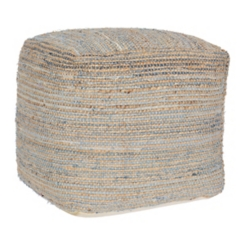 Denim with Jute Stripe Blue Pouf