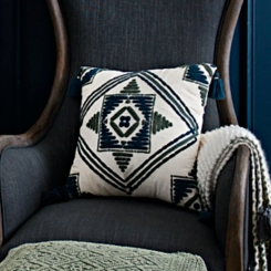 Embroidered Blue and Green Aztec Pillow
