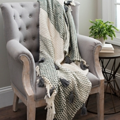 Cotton Ribbon Throw with Charcoal Tassels