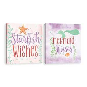 Starfish and Mermaid Canvas Art Prints, Set of 2