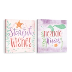 Starfish and Mermaid Canvas Art Prints, Set of 2