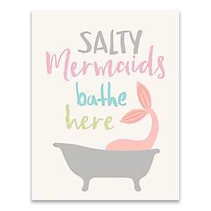 Salty Mermaids Bathe Here Canvas Art Print