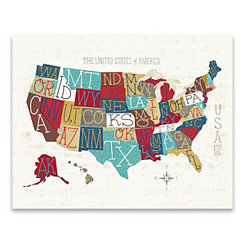 Colorful USA Map Canvas Art Print