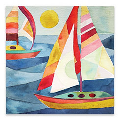 Colorful Sailboats Canvas Art Print
