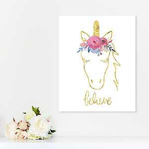 Golden Unicorn Believe Canvas Art Print