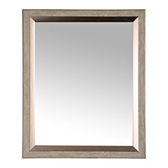 Dark Gray Woodgrain Wall Mirror, 27.3x33.3 in.