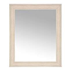 White Woodgrain Wall Mirror, 27.3x33.3 in.
