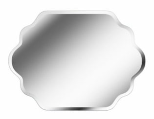 Rectangular Wavy Frameless Mirror, 38x28 in.