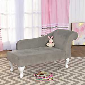 Gray Velvet Kids Chaise Lounge