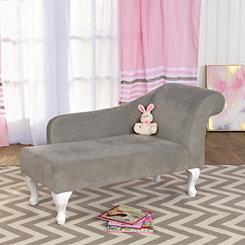 Gray Velvet Kids Chaise Lounge