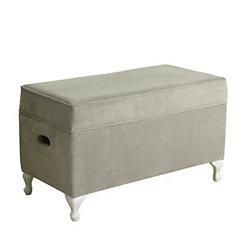 Gray Velvet Kids Storage Bench