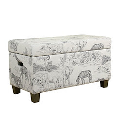 Safari Print Kids Storage Bench