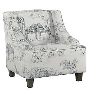 Safari Print Kids Swoop Arm Accent Chair