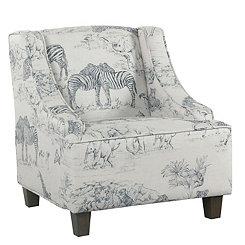 Safari Print Kids Swoop Arm Accent Chair