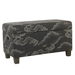 Gray Clouds Kids Storage Bench