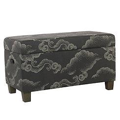 Gray Clouds Kids Storage Bench
