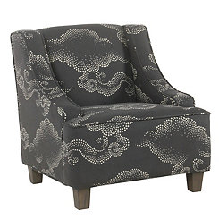 Gray Clouds Kids Swoop Arm Accent Chair