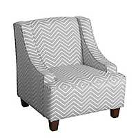 Gray and White Chevron Kids Swoop Arm Accent Chair