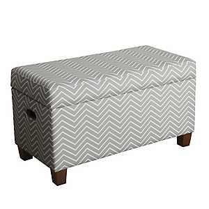Gray and White Chevron Kids Storage Bench