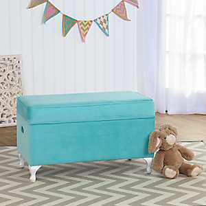 Blue Velvet Storage Bench