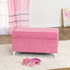 Pink Velvet Kids Storage Bench