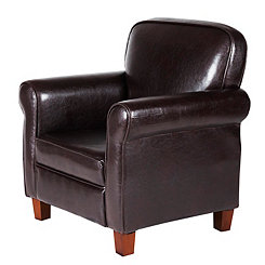 Faux Leather Kids Accent Chair with Rolled Arms