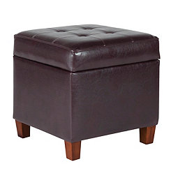 Faux Leather Tufted Square Kids Storage Ottoman