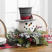 Pine and Snowman Head Floral Arrangement