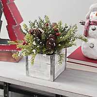 Snowy Pine in Slat Box Floral Arrangement