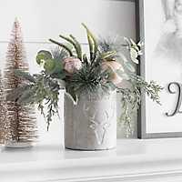 Frosted Pine in Concrete Pot Floral Arrangement