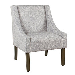 Gray Damask Swoop Accent Chair