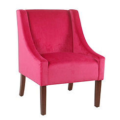 Pink Velvet Swoop Accent Chair