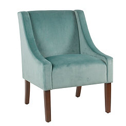 Aqua Velvet Swoop Accent Chair