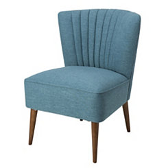 Teal Channel Stripe Tufted Accent Chair
