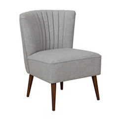 Gray Channel Stripe Tufted Accent Chair