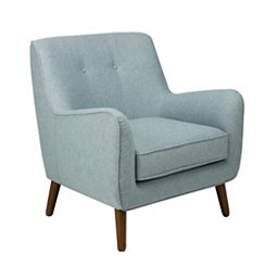 Brushed Blue Tufted Accent Chair