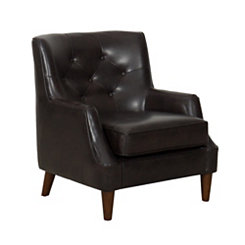 Dark Brown Tufted Faux Leather Accent Chair