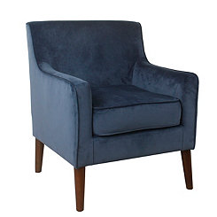 Navy Velvet Mid-Century Accent Chair