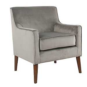Gray Velvet Mid-Century Accent Chair