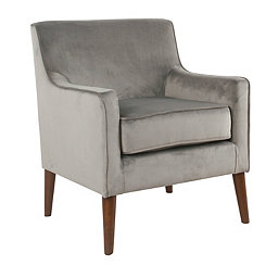 Gray Velvet Mid-Century Accent Chair
