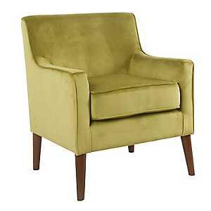 Green Velvet Mid-Century Accent Chair