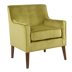 Green Velvet Mid-Century Accent Chair