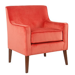 Coral Velvet Mid-Century Accent Chair